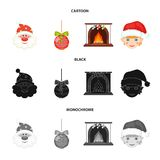 Santa Claus, dwarf, fireplace and decoration cartoon,black,monochrome icons in set collection for design. Christmas. Vector symbol stock  illustration Stock Image