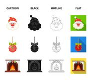Santa Claus, dwarf, fireplace and decoration cartoon,black,outline,flat icons in set collection for design. Christmas. Vector symbol stock  illustration Stock Photos