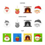 Santa Claus, dwarf, fireplace and decoration cartoon,flat,monochrome icons in set collection for design. Christmas. Vector symbol stock  illustration Stock Photo
