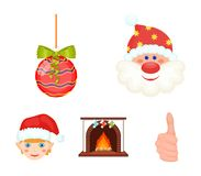 Santa Claus, dwarf, fireplace and decoration cartoon icons in set collection for design. Christmas vector symbol stock. Illustration Stock Images