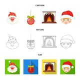 Santa Claus, dwarf, fireplace and decoration cartoon,outline,flat icons in set collection for design. Christmas vector. Symbol stock  illustration Stock Photo