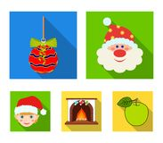 Santa Claus, dwarf, fireplace and decoration flat icons in set collection for design. Christmas vector symbol stock web. Santa Claus, dwarf, fireplace and Stock Image