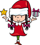 Santa Claus dziewczyny kreskówki ilustracja Obrazy Royalty Free