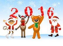 Santa Claus e animal que guardam os números 2016 ilustração stock