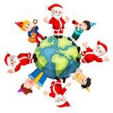 Santa Claus e bambini felici illustrazione vettoriale