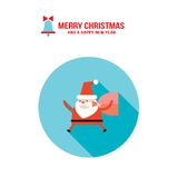 Santa Claus e borsa con la cartolina d'auguri del buon anno di Buon Natale dei regali dei presente Immagine Stock Libera da Diritti