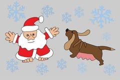 Santa Claus e cão do zodíaco Imagem de Stock Royalty Free