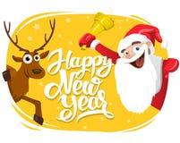 Santa Claus e cervos, cartão de rotulação do ano novo feliz, 2017 ilustração do vetor