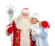 Santa Claus e donzela da neve foto de stock