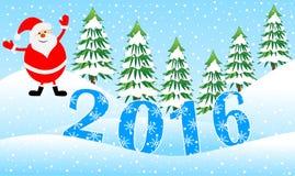 Santa Claus e figuras ano 2016 em uma floresta do inverno ilustração royalty free
