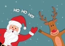 Santa Claus e historieta polar del reno Fondo de la Navidad con Papá Noel Feliz Navidad y Feliz Año Nuevo HO-HO-HO Vecto Fotografía de archivo libre de regalías