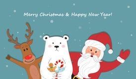 Santa Claus e historieta polar del reno Fondo de la Navidad con Papá Noel Feliz Navidad y Feliz Año Nuevo HO-HO-HO Vecto Imágenes de archivo libres de regalías