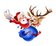 Santa Claus e la renna che si prepara per il Natale illustrazione di stock