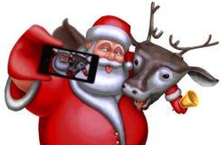 Santa Claus e la renna sono fotografate su uno smartphone Fotografie Stock Libere da Diritti