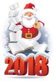 Santa Claus e libri 2018 Immagini Stock