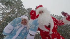 Santa Claus e nipote che ondeggiano le loro mani sulla macchina fotografica nel video accelerato foresta archivi video