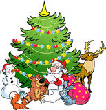 Santa Claus e os animais da floresta Fotografia de Stock Royalty Free