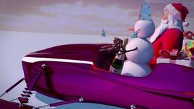 Santa Claus e pupazzo di neve che guidano un lasso di tempo di gatto delle nevi della slitta Storia di Natale del nuovo anno Figu archivi video
