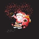 Santa Claus e regali con il Natale fondo ed il vettore della cartolina d'auguri Illustrazione Vettoriale