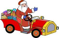 Santa Claus e retro automobile Fotografia Stock Libera da Diritti
