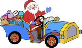 Santa Claus e retro automobile Fotografie Stock Libere da Diritti