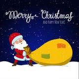 Santa Claus e sacco enorme del regalo di Natale Fotografia Stock