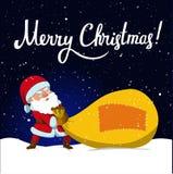Santa Claus e sacco enorme del regalo di Natale Immagine Stock