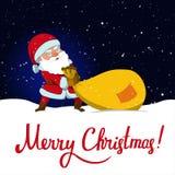 Santa Claus e sacco enorme del regalo di Natale Fotografie Stock