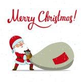 Santa Claus e sacco enorme del regalo di Natale Immagini Stock Libere da Diritti