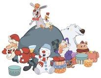 Santa Claus e seus desenhos animados dos ajudantes Fotografia de Stock Royalty Free