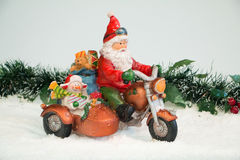 Santa Claus e sidecar Immagine Stock