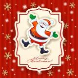 Santa Claus e testo felici su fondo tricottato Fotografia Stock Libera da Diritti