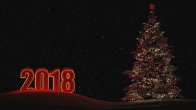 Santa Claus e um boneco de neve que monta um carro de neve do trenó Figuras 2018 Lugar para a inscrição Nenhuns povos A lua, a fl video estoque