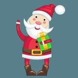 Santa Claus e um presente Fotografia de Stock Royalty Free