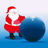 Santa Claus and Earth. Santa Claus near the big globe Stock Illustration