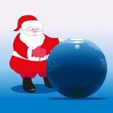 Santa Claus and Earth. Santa Claus near the big globe Stock Photography