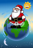 Santa claus on earth Stock Images