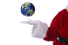 Santa Claus with earth Stock Photo