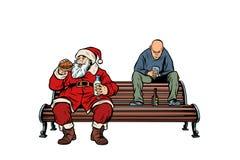 Santa Claus eats fast food Burger, hooligan drinks drunk vector illustration