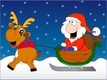 Santa Claus ed i cervi alla notte di Natale Immagini Stock Libere da Diritti