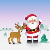 Santa Claus ed i cervi si congratulano con il Natale e un nuovo anno illustrazione di stock