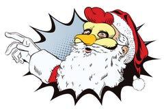 Santa Claus in een haanmasker Symbool van jaar horoscope Stock Fotografie