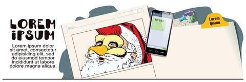 Santa Claus in een haanmasker Symbool van jaar horoscope Royalty-vrije Stock Foto