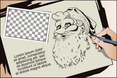 Santa Claus in een haanmasker Symbool van jaar horoscope Stock Afbeeldingen