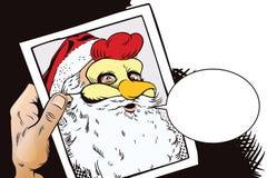 Santa Claus in een haanmasker Symbool van jaar horoscope Royalty-vrije Stock Afbeeldingen