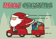 Santa Claus in een rode autoped Royalty-vrije Stock Afbeeldingen