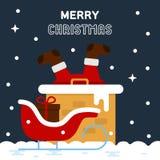 Santa Claus in een schoorsteen wordt geplakt die Stock Afbeeldingen