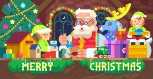 Santa Claus in een workshop vector illustratie