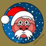Santa Claus in einem Goldrundschreibenfenster Lizenzfreies Stockfoto
