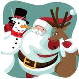 Santa Claus, el muñeco de nieve y el reno toman un selfie de la Navidad Imagen de archivo libre de regalías